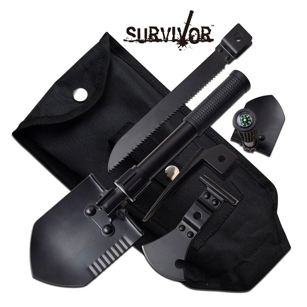 SURVIVAL SHOVEL Pala de supervivencia Überlebensschaufel RESCUE 7IN1 SV-MUL001BK
